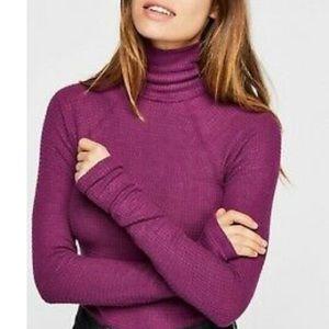 Free People Purple turtleneck bodysuit